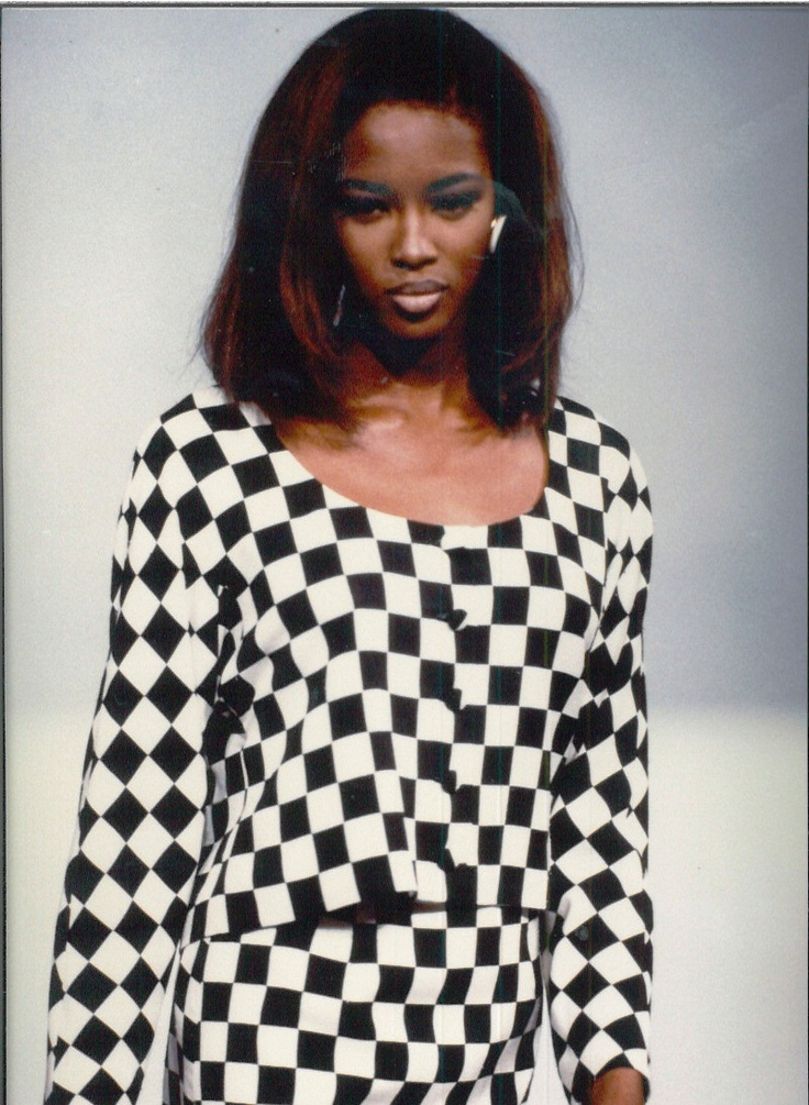 Our first fashion show - Naomi Campbell wearing Nicole Miller on the runway