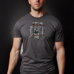 The Plaid Fire T-Shirt (Asphalt Gray)- Black Helmet Firefighter Apparel