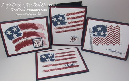 Four Cool Work of Art Flag Cards by Angie Leach, Too Cool Stamping, using the Work of Art stamp set.