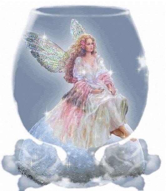 Мерцающие открытки ангелочки