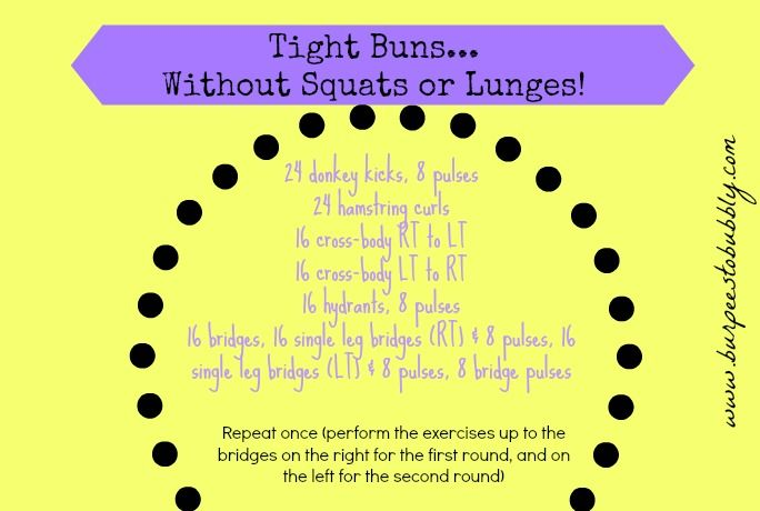 Wednesday Workout: Tight Buns! Without squats or lunges! {video} lower body booty