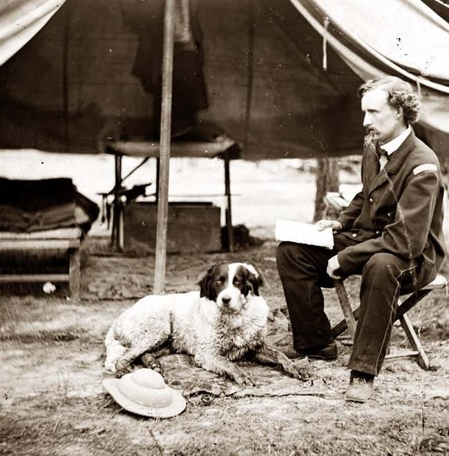 The Peninsula, Virginia Lieutenant George A. Custer with dog. It was made in 1862.
