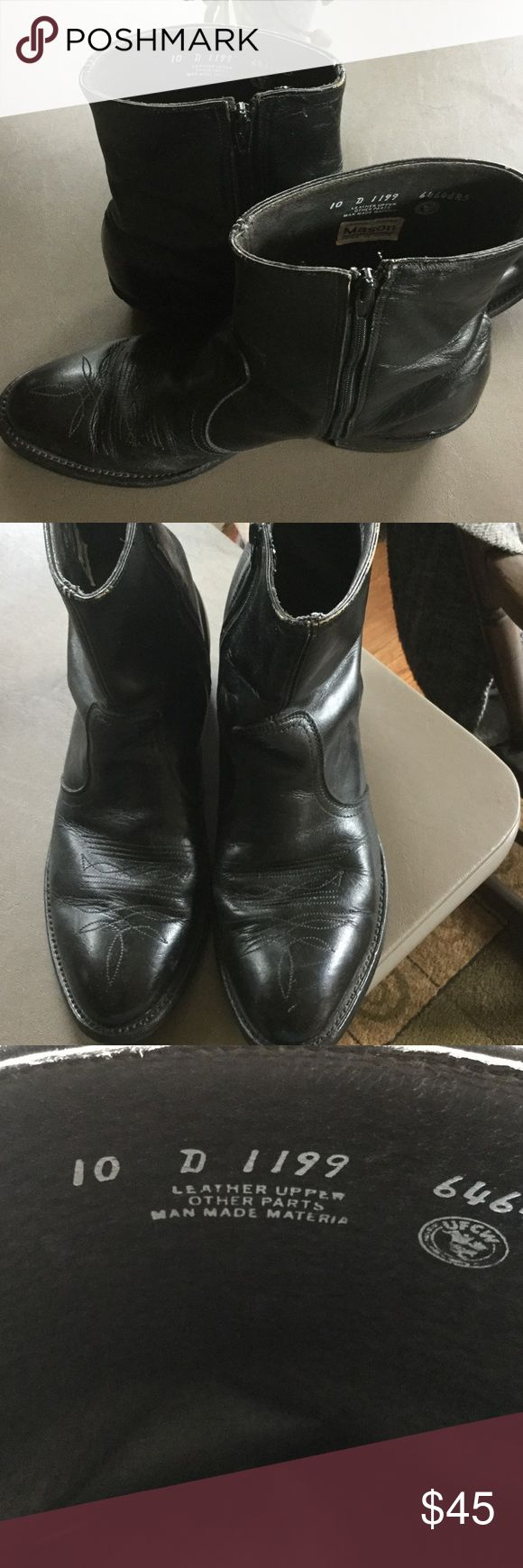 Men's Black Leather Dress Cowboy Boots Size 10 Dressed up leather classic western boot - has premium leather upper and stitched toe medallion.  These cowboy boots are used but still have a lot of wear to them. Side zipper. Mason Shoes Cowboy & Western Boots
