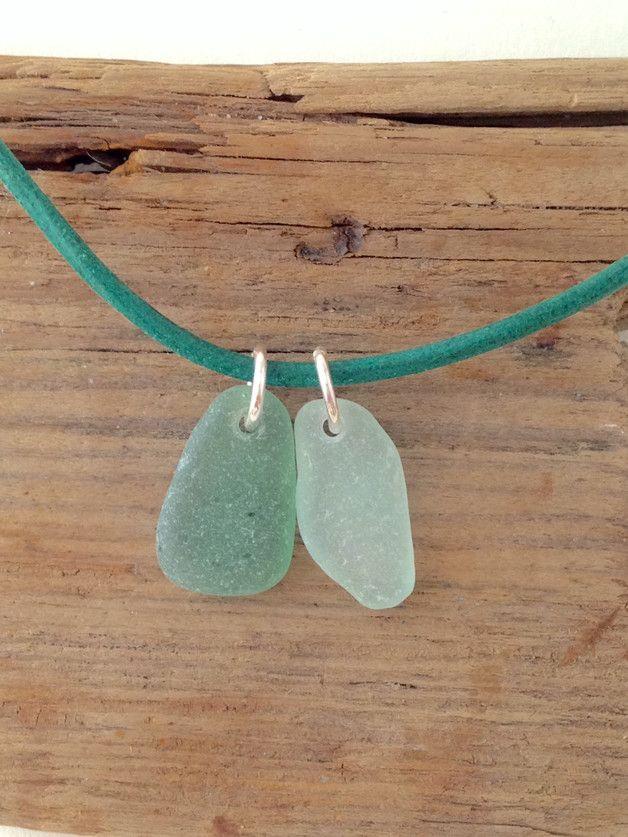 """Lederketten - Leder Halskette mit Meerglas-Anhänger """"Seegrün"""" - ein Designerstück von MeerSchmuck bei DaWanda"""