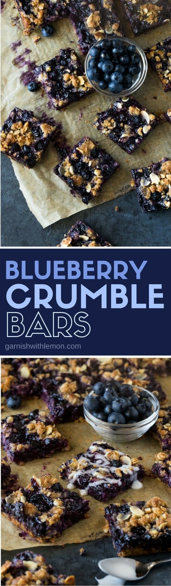 The crust is also the topping in these quick and easy Blueberry Crumble Bars - a great dessert recipe for your next picnic or BBQ!