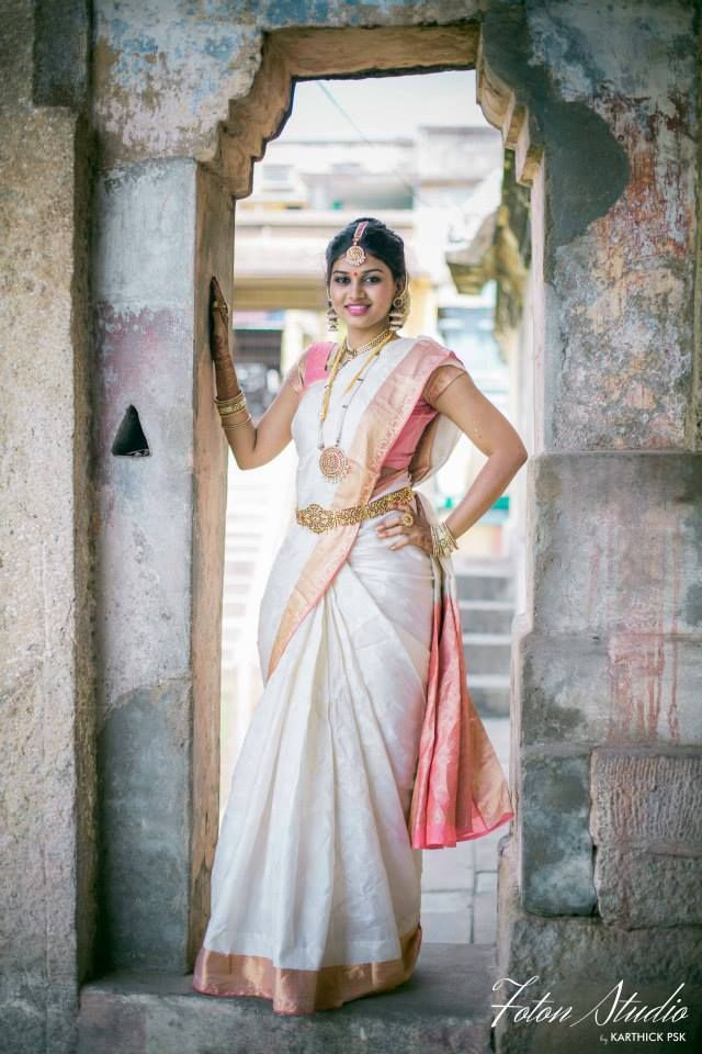 South Indian bride. White Kanchipuram silk sari. Temple jewelry. Braid with fresh flowers. Tamil bride. Telugu bride. Kannada bride. Hindu bride. Malayalee bride.