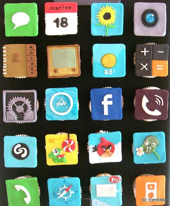 Edible Cake Images Iphone : 12 Fondant Edible Apps/ Iphone / Apple apps Cake or ...