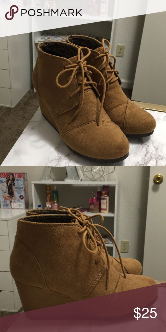 Tan Wedge Booties These booties are perfect for fall! Ive only used them once or twice but they're very comfortable! Tilly's Shoes Ankle Boots & Booties