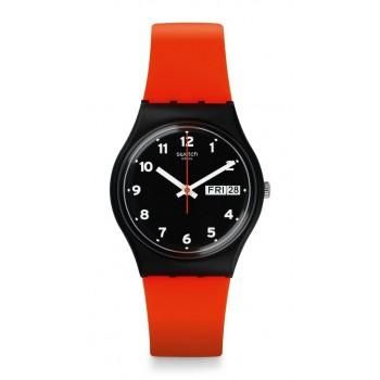 SWATCH Red Grin - GB754 Black case, with Orange Rubber Strap