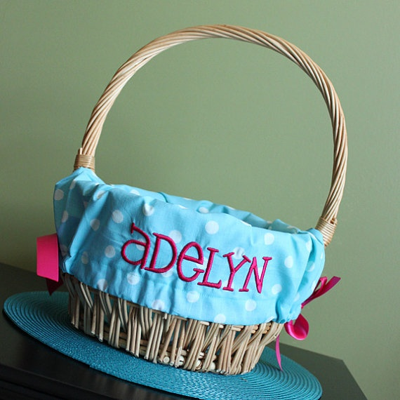 Personalized Monogrammed Easter Basket Liner Blue With