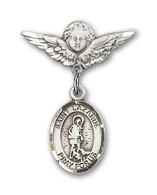 ReligiousObsession's Sterling Silver Baby Badge with St. Lazarus Charm and Angel with Wings Badge Pin >>> Click on the image for additional details.