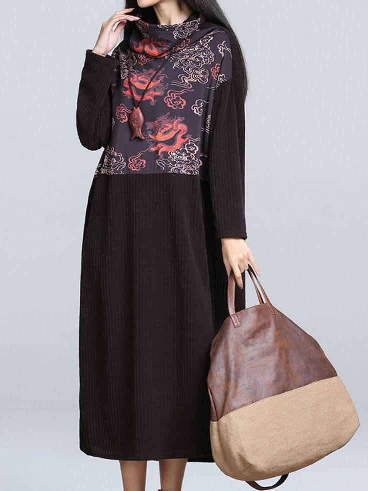 Donne d'epoca stampate a collo alto Dress Patchwork lana