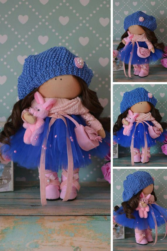 Handmade Doll Rag Doll Bambole Interior Doll Textile Doll Tilda Doll Fabric Doll Blue Doll Muñecas Soft Doll Cloth Doll Baby Doll by Elvira __________________________________________________________________________________________   Hello, dear visitors!  This is handmade cloth doll created by Master Elvira F (Nizhnevartovsk, Russia). All dolls stated on the photo are mady by artist Elvira F. You can find them in our shop searching by artist name: https://www.etsy.com/shop/...