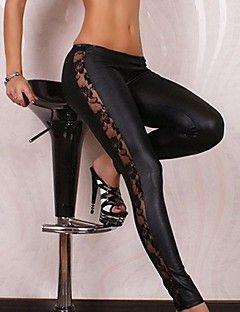 Női Faux bőr fekete Legging