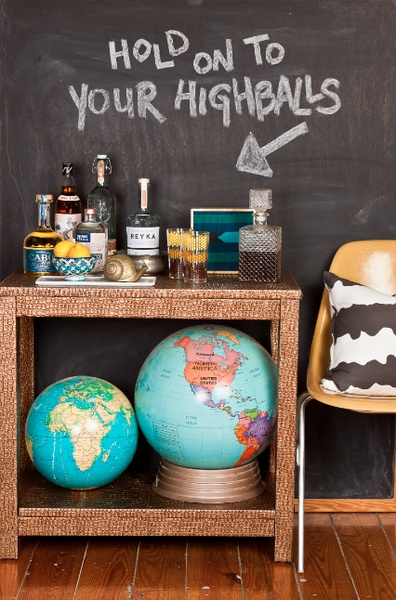 Bar Cart with Chalkboard Wall | The Draper Accent Table from Society Social