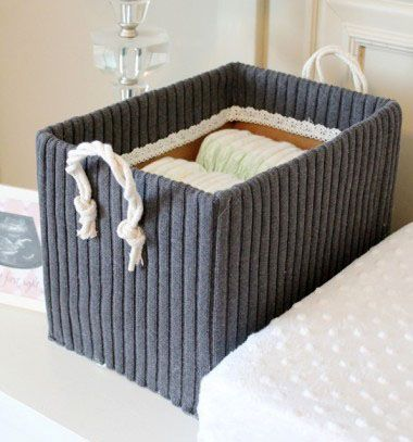 Diy storage boxes from shoe boxes and old sweaters // Tároló doboz megunt pulóverből // Mindy - craft & DIY tutorial collection