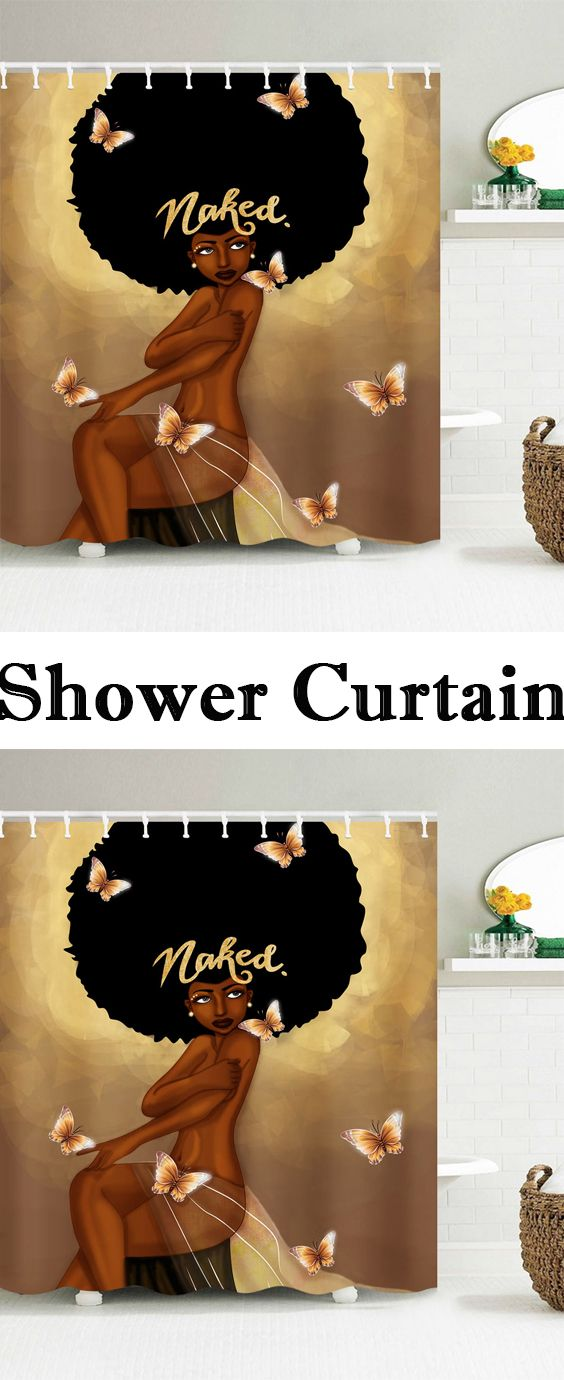 Afro Hair Fashion Girl Have A Bath Shower Curtain Home
