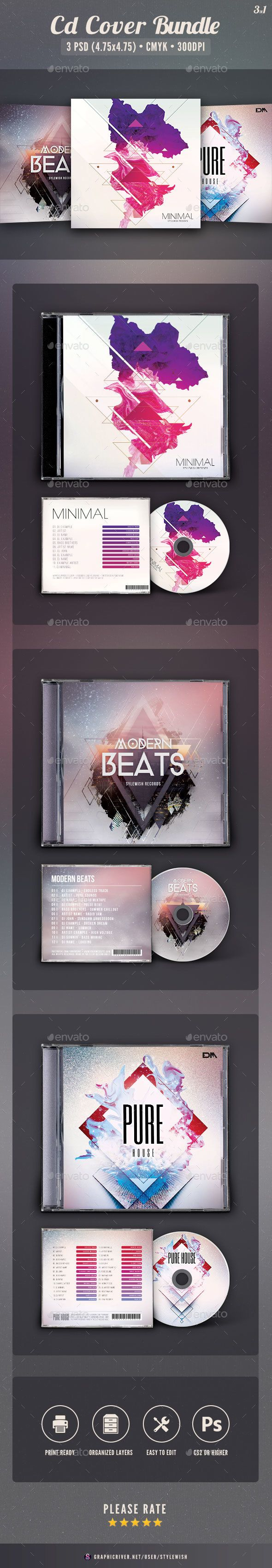 Abstract CD Cover Template PSD Bundle