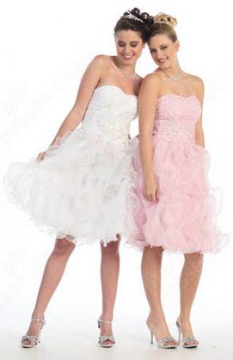 A-line Sweetheart Organza Knee-length White Ruffles Prom Dress