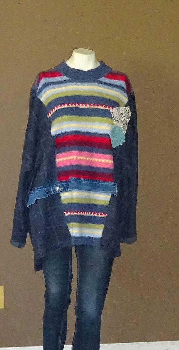 0659625c7d48 One Size Sweater Jacket Kaftan Upcycled Clothing Kimono Style ...