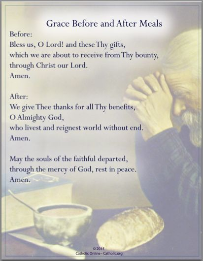 Prayers - Grace Before and After Meals by Catholic Shopping .com | FREE Digital Download PDF
