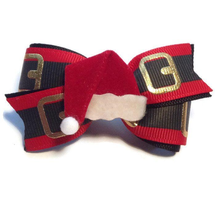 Dog hair bows, dog bows, Santa hair bow, Dog bow, Christmas Hair bow, toddler hair bow, headband by CreateAlley on Etsy
