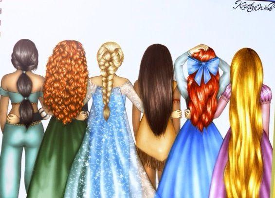 Jasmine, Merida, Elsa, Pocahontas, Ariel, and Rapunzel.