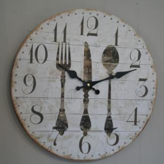 Horloge couverts deco cuisine r tro chic pour l appart for Deco cuisine horloge