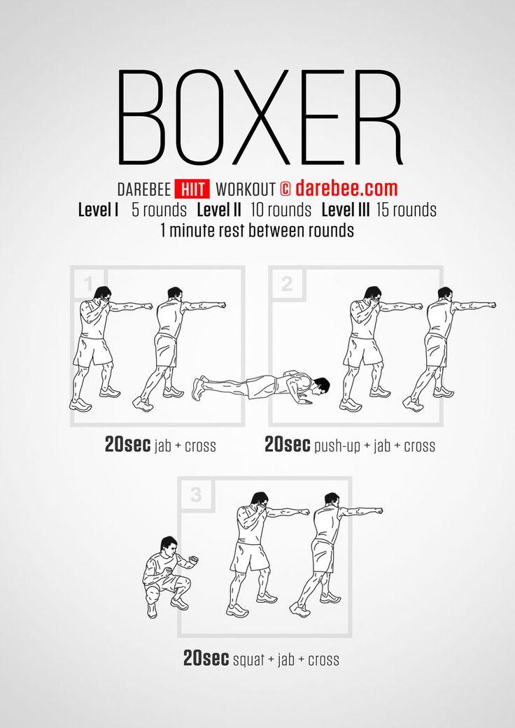 The Boxer HIIT Darebee workout Exercises Pinterest