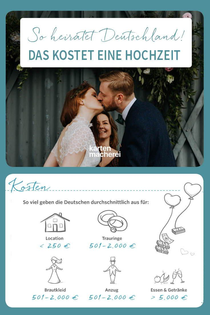 Das Kostet Eine Hochzeit In Deutschland Wir Verraten Euch Welches Hochzeitsbudget Ihr Fur Eure Hochzeit Einplanen Sol Hochzeitsfakten Hochzeit Kosten Hochzeit