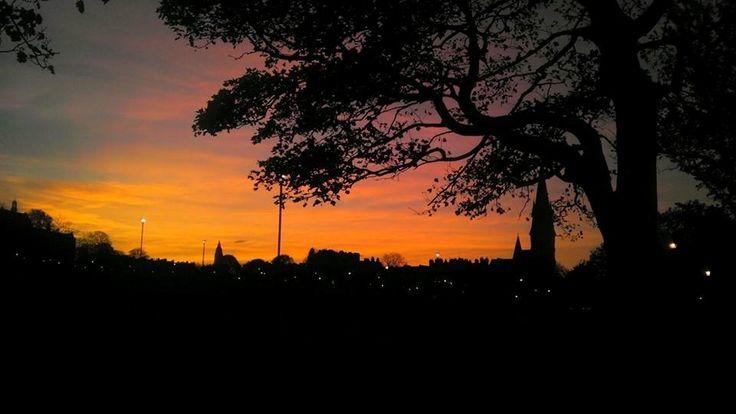 Sunset over the Bruntsfield Links.