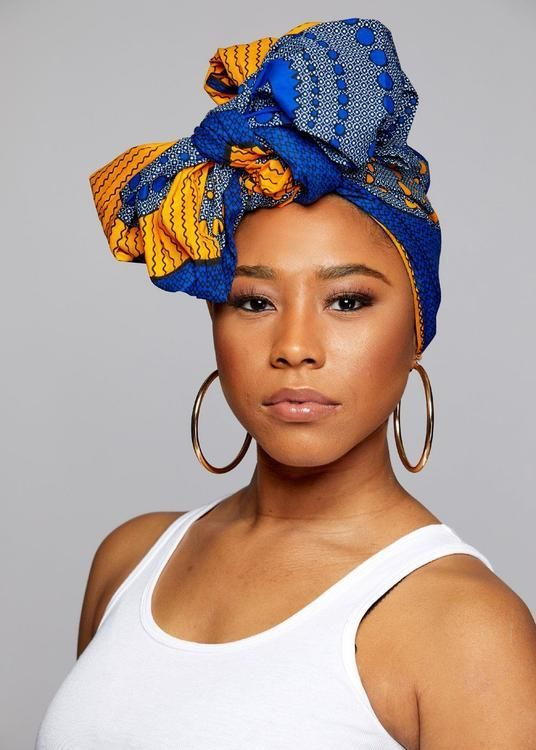 African Print Head Wrap/Scarf (Yellow Blue Circles)   – Headwraps