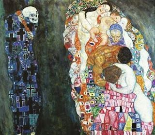 Gustav Klimt. Death and Life. 1911-1915. Museum Leopold, Vienna. Asymmetrical composition is all about having two sides that do not match. The heaviness or lightness of any form varies in relation to other forms around it. In this piece we see asymmetrical balance in the opposition between life (right) and death(left). On the right we se light-hued figures and to the left a dark skeletal figure dressed in a grave-marker patterned robe. The two halves of the painting are linked by Death's…