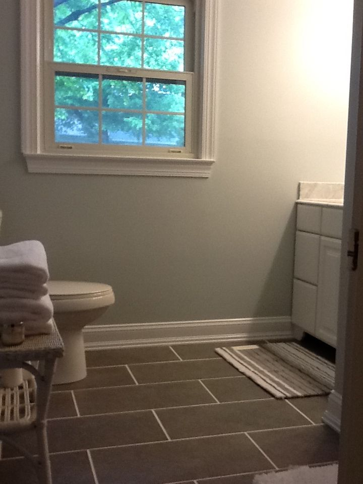 Here Is The Quot After Quot Flooring Went With Large Gray Tiles