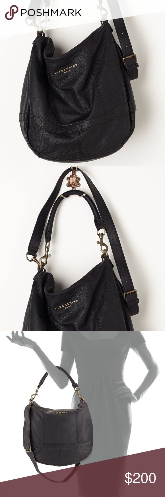 Liebeskind Black Ramona Pebbled-Leather Hobo Gorgeous authentic Liebeskind Berlin, soft leather bag. In excellent condition. Dust bag included. Liebeskind Bags Hobos