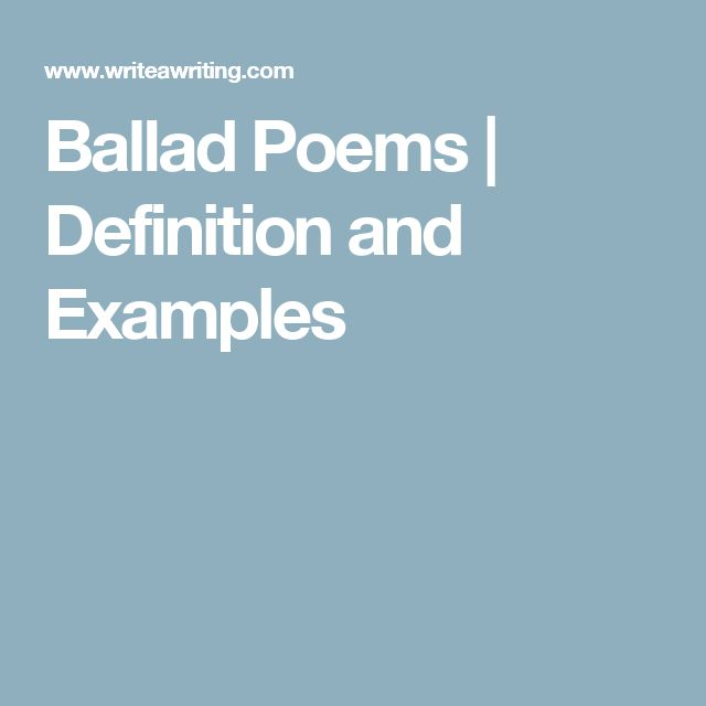Ballad Poems | Definition and Examples