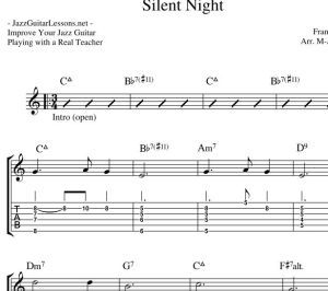 Silent Night: Jazz Guitar Chord Melody arrangement with TABS