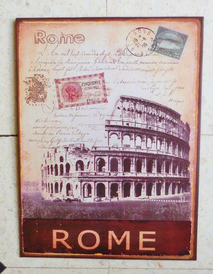 GRANDE PLAQUE DECORATIVE EN TÔLE - DECOR DE CARTE POSTALE ANCIENNE - ROME in Maison, Décoration ...