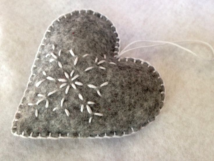 grey and white christmas felt heart