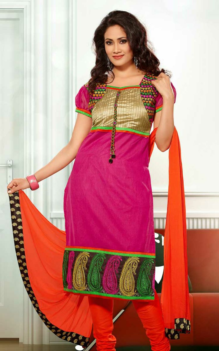 PINK & ORANGE CHANDERI COTTON SALWAR KAMEEZ - RUD 33007D