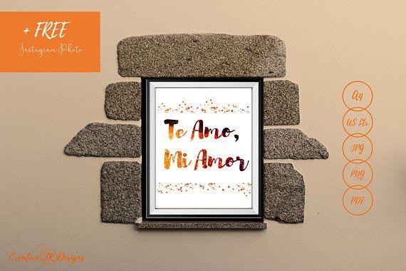 Te Amo Mi Amor Quote | Spanish Love Quote | Latin Love Quote | Love quote print | Digital print | glitter Wall art | glitter print | orange