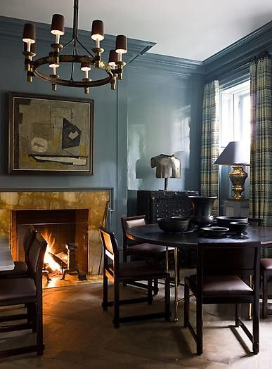Love the lacquer walls: Dining Rooms, Living Rooms, Blue Wall, Wall Color, Interiors, Fireplaces, High Glos, Steven Gambrel, Lacquer Wall