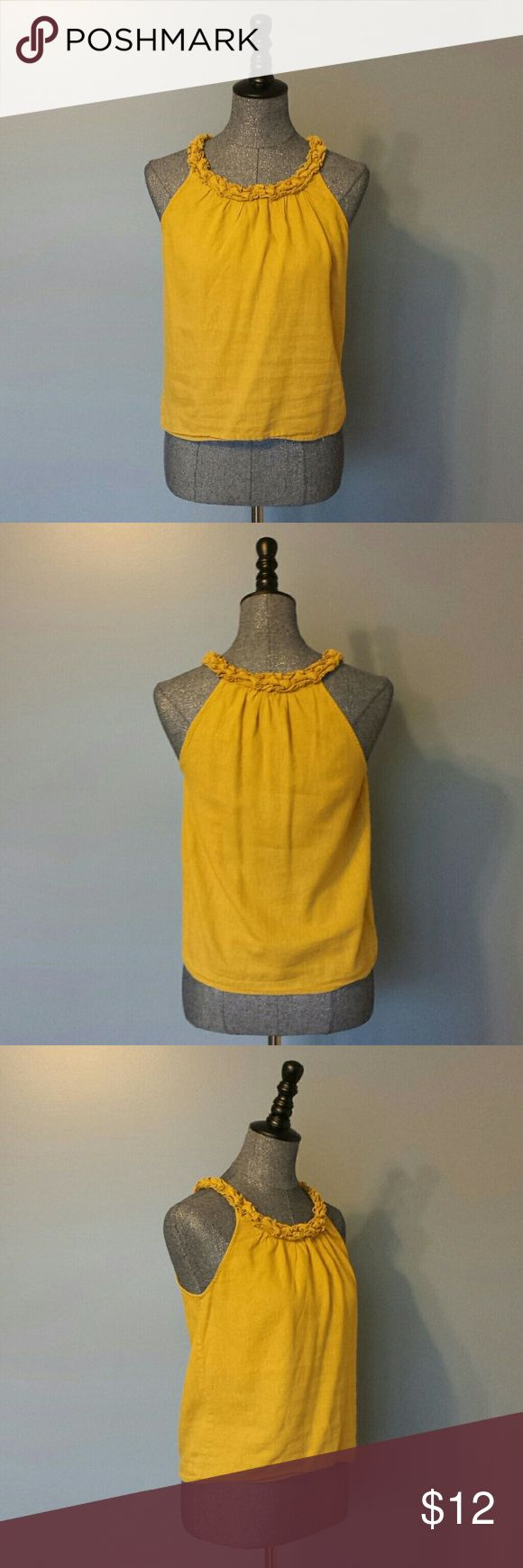❤ Carole Little | Mustard Yellow Short Sleeve Top This is a gently worn mustard yellow sleeveless top by Carole Little.  It is petite small in size.  The gathered fabric around the neckline is very unique and special to this design... it works well with the way the shoulders are cut.  55% Linen 45% Rayon Carole Little Tops