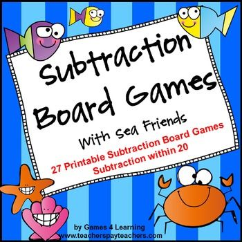 Subtraction Board Games With Sea Friends is a set of 27 printable subtraction games from Games 4 Learning.  These fun, subtraction math board games are for 2 players or 2 - 4 players. They are a cute and colorful way to practice subtraction facts. The games are designed to develop mastery of basic subtraction facts.