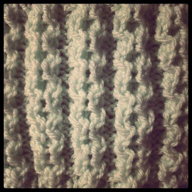mint aran knitting set detail. through the back loops.