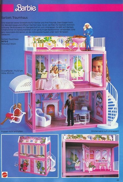 This is the Barbie dream house I had as a kid, so wish we had saved it! Gift from Will.
