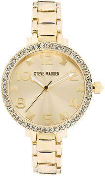 Steve Madden Watch, Women's Gold-Tone Pyramid Link Bracelet 35mm SMW00035-02 on shopstyle.com.au