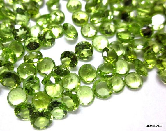 10 pcs Lot 6 mm PERIDOT Round Faceted gemstone by GEMSSALE on Etsy
