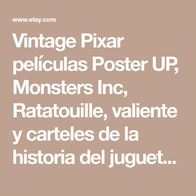 Vintage Pixar películas Poster UP, Monsters Inc, Ratatouille, valiente y carteles de la historia del juguete - conjunto de 5 Posters