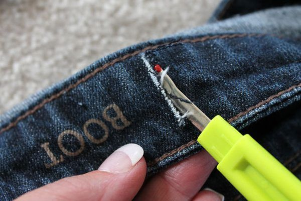 Cut slits in the waistband.